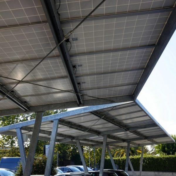 flat roof carport with solar panels